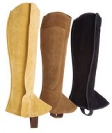 Classic suede leather half chaps, or polainas, with side zipper